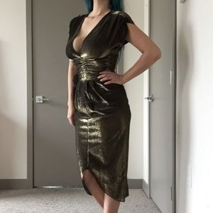80's VTG Steppin' Out Gold Metallic Mermaid Dress